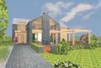 rodinný dům v přírodě na 3D vizualizaci